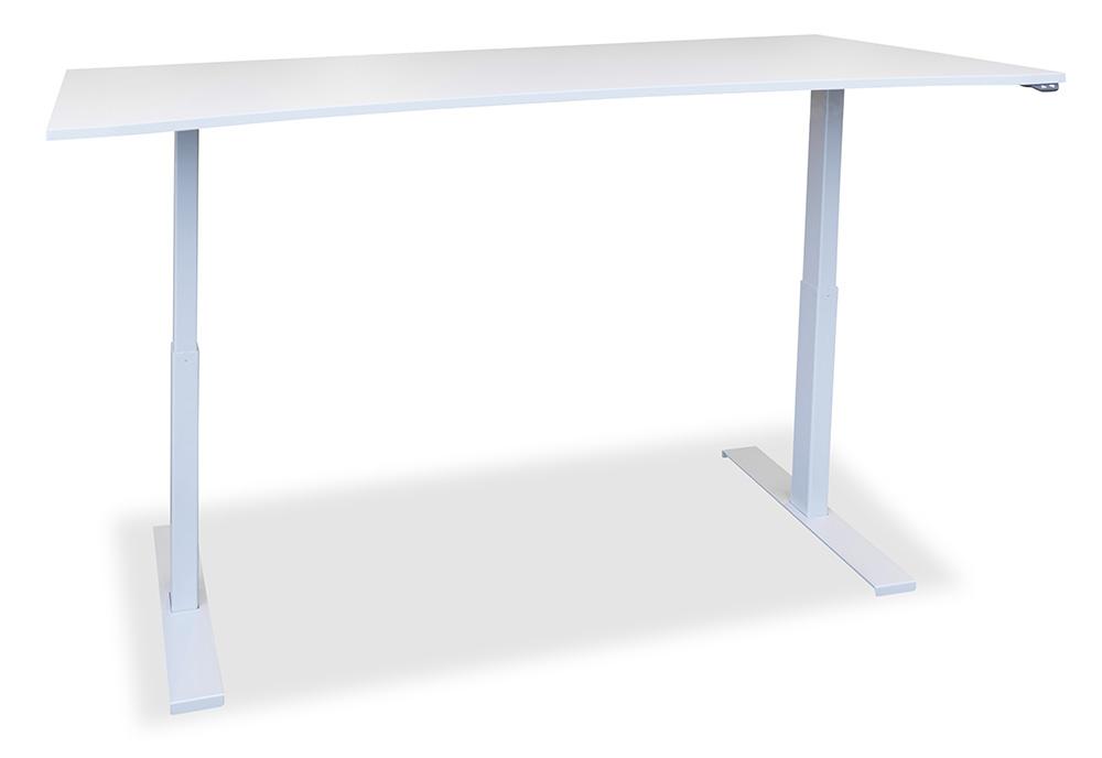 Arbeidsbord med slak magebue og hev & senk understell.