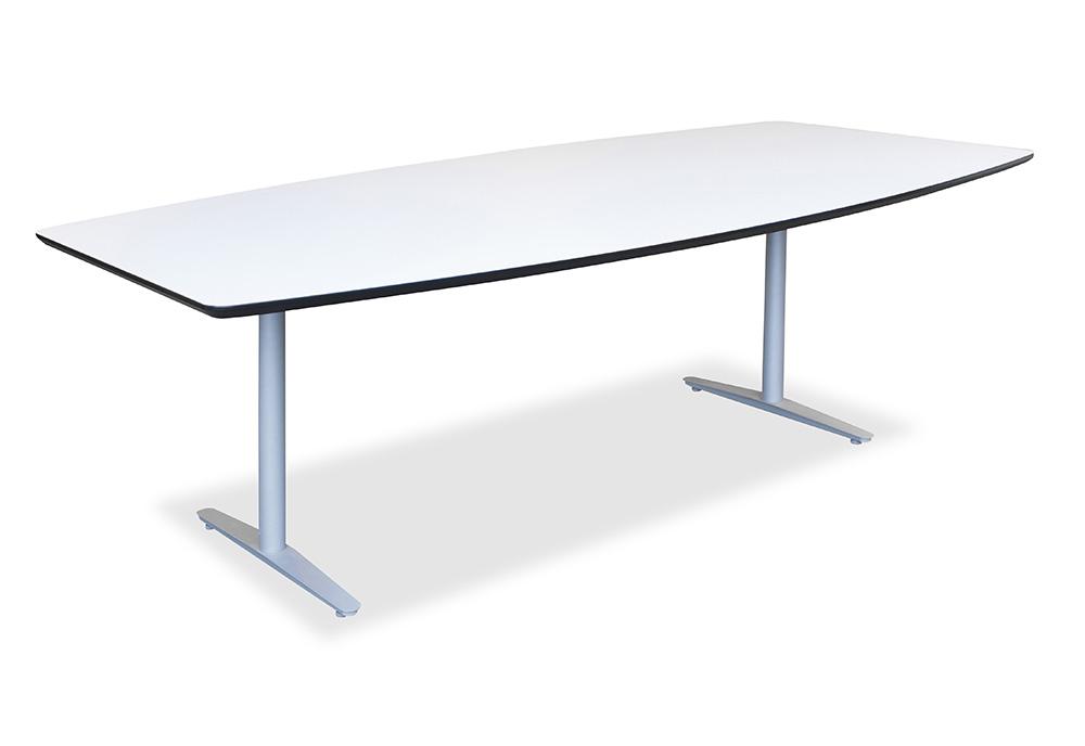 Konferansebord i hvitt med faset kant i sort utførelse.