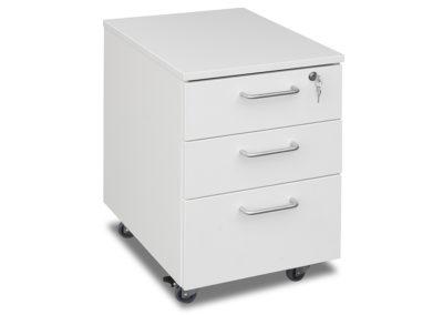 Tre skuffer (to grunne og en dyp) i hvitt. Penneholder/innlegg + lås i øverste skuff. Se mer info under meny «Lagerførte kontormøbler»